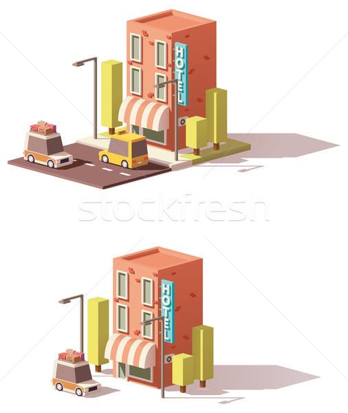 Vector low poly hotel icon Stock photo © tele52
