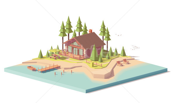Stock photo: Vector low poly house in forest