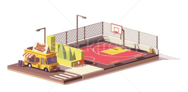 Stockfoto: Vector · laag · voedsel · vrachtwagen · basketbalveld · hot · dog