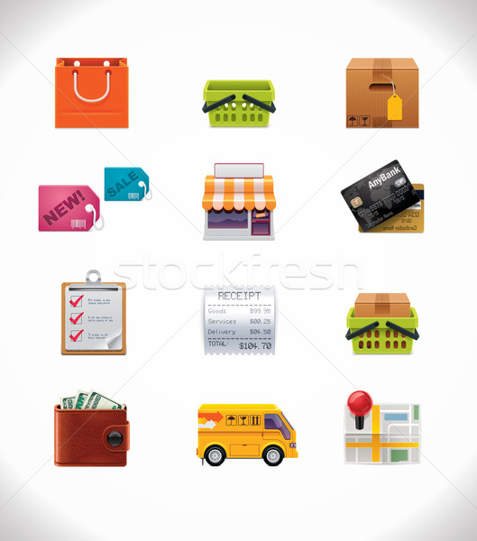 Vector shopping icon set Stock photo © tele52