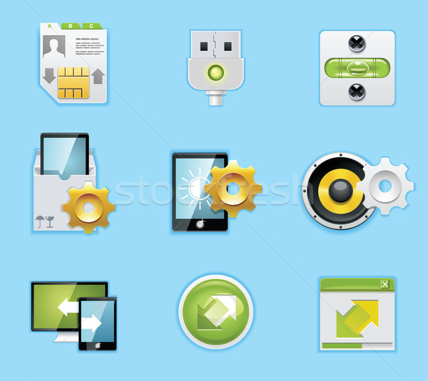 Typical mobile phone apps and services icons Stock photo © tele52