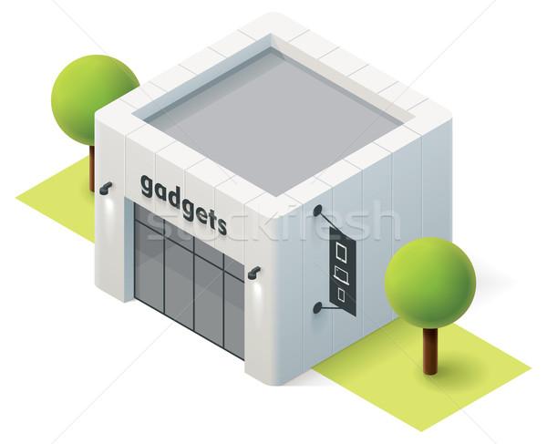 Vektor izometrikus szerkentyű bolt bolt épület Stock fotó © tele52
