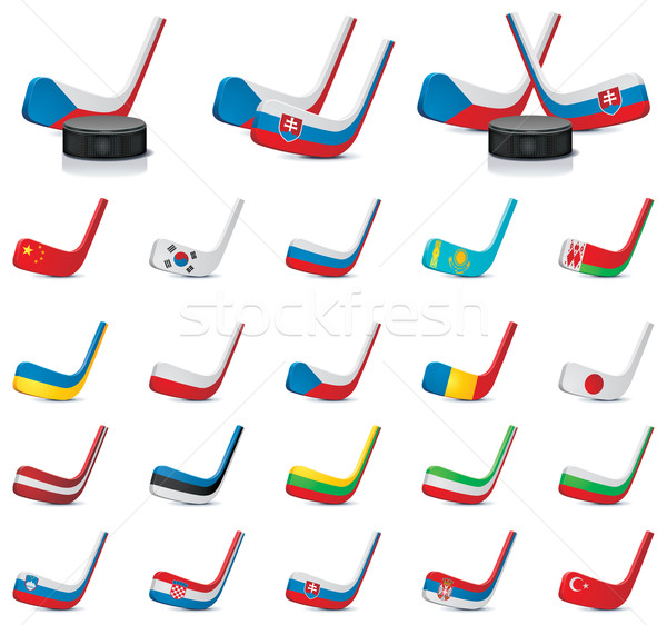 Stock photo: Vector ice hockey sticks country flags icons, Part 1