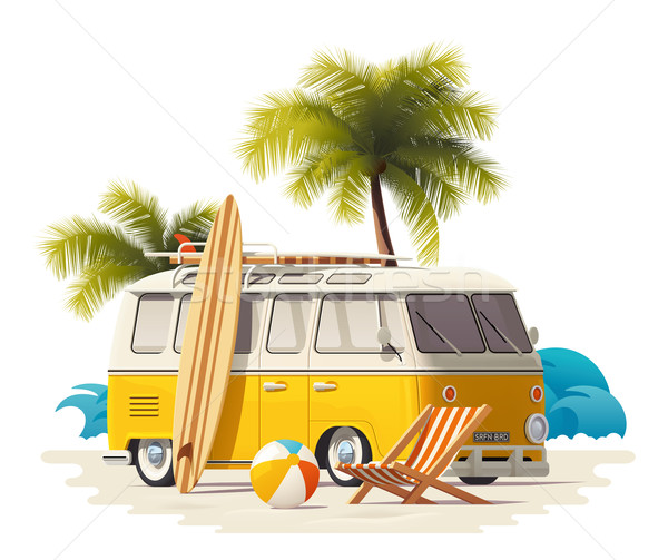 Vector realistic vintage surfer van on the beach icon Stock photo © tele52