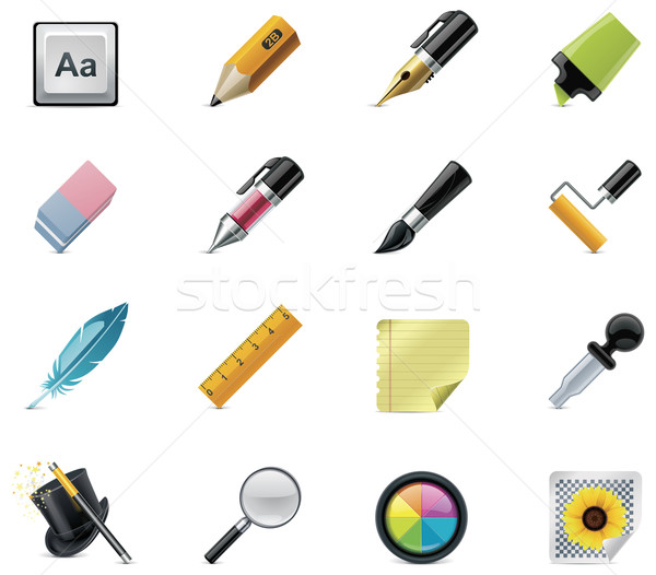 Drawing and Writing tools icon set Stock photo © tele52
