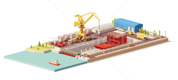 Vector low poly ship construction in dry dock Stock photo © tele52