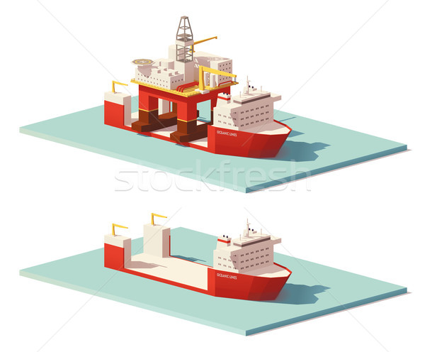 Stock photo: Vector low poly heavy lift ship and oil rig