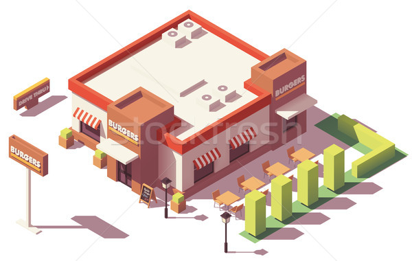 Stockfoto: Vector · isometrische · laag · fastfood · restaurant · gebouw · huis