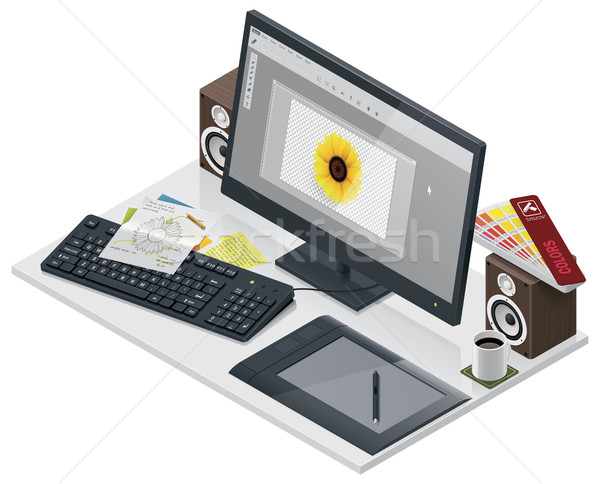 Vector visual artist workplace Stock photo © tele52
