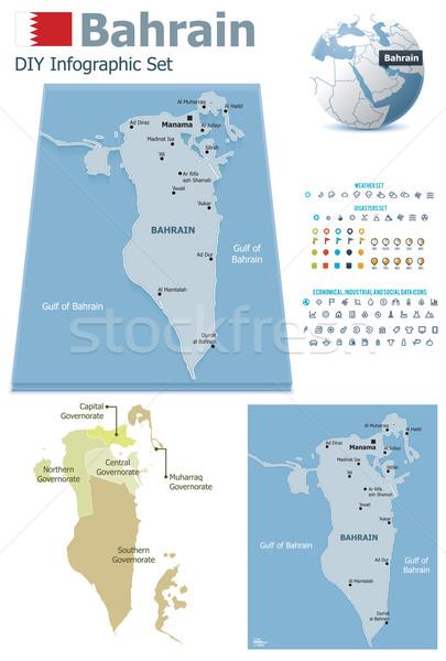 Bahreyn haritaları ayarlamak siyasi semboller Stok fotoğraf © tele52