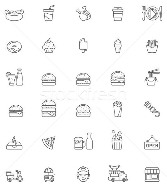 Fast-Food Set Essen Gebäude Junge Stock foto © tele52