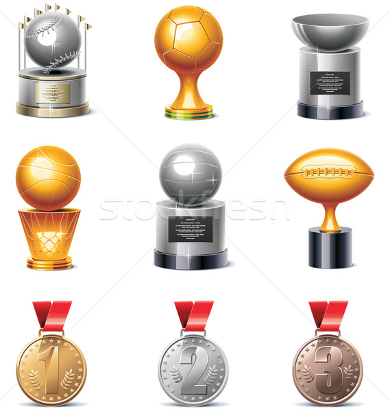 Vector sport trophies and medals icon set Stock photo © tele52