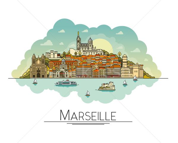 Vektor vonal művészet Marseille Franciaország utazás Stock fotó © tele52