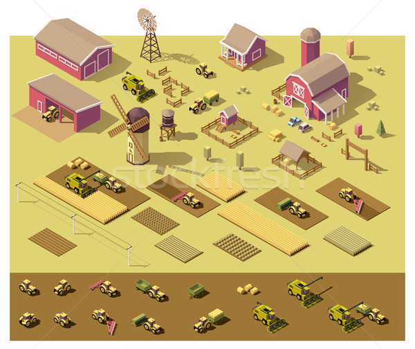 Vector isometric low poly farm elements Stock photo © tele52