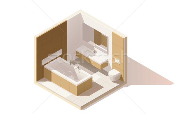 Vektor izometrikus alacsony fürdőszoba ikon zsakett Stock fotó © tele52
