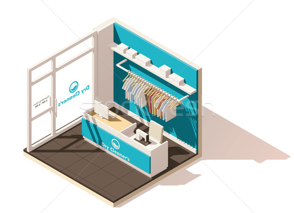 Vector isometric low poly commercial laundry icon Stock photo © tele52
