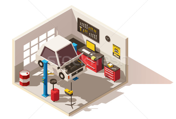 Vector isometric low poly car service center icon Stock photo © tele52