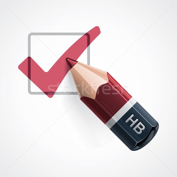 Vektör kalem ikon ayrıntılı kırmızı Stok fotoğraf © tele52