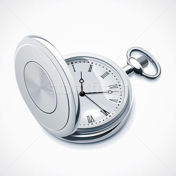 Vector zakhorloge gedetailleerd icon zilver dekken Stockfoto © tele52