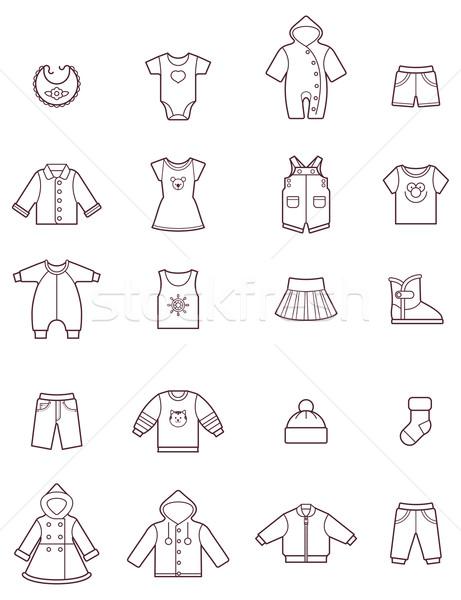 Baby clothes icon set Stock photo © tele52
