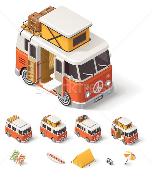 Vector isometrische kampeerder van retro auto Stockfoto © tele52