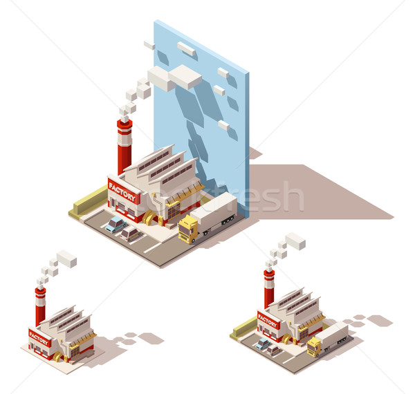 Vector isometric factory building with smoking pipe icon Stock photo © tele52