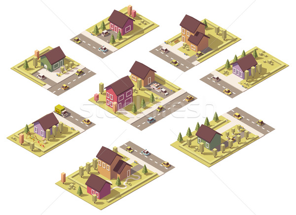 Vector isometric low poly suburban buildings Stock photo © tele52