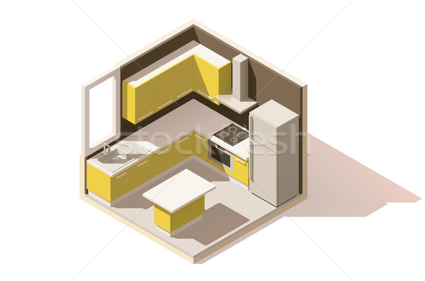 Vector isometric low poly kitchen room icon Stock photo © tele52