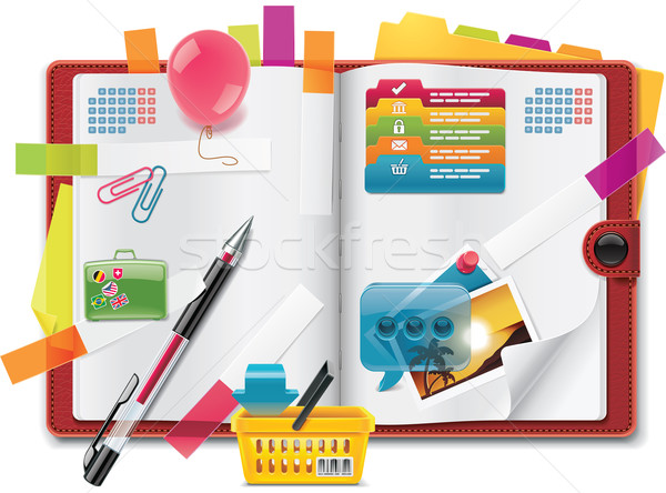 Stock photo: Vector personal organizer features XXL detailed icon