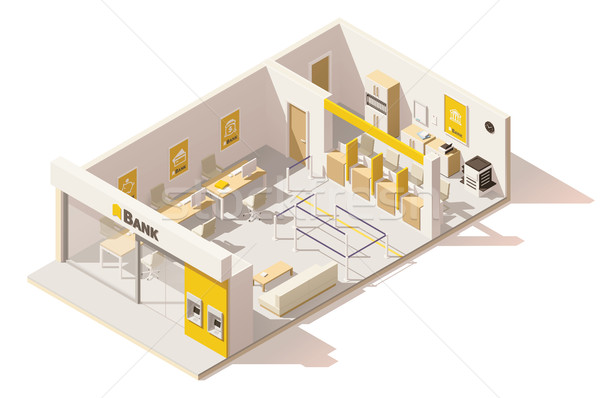 Vector isometric low poly bank interior Stock photo © tele52
