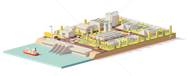 Vector low poly water treatment plant Stock photo © tele52