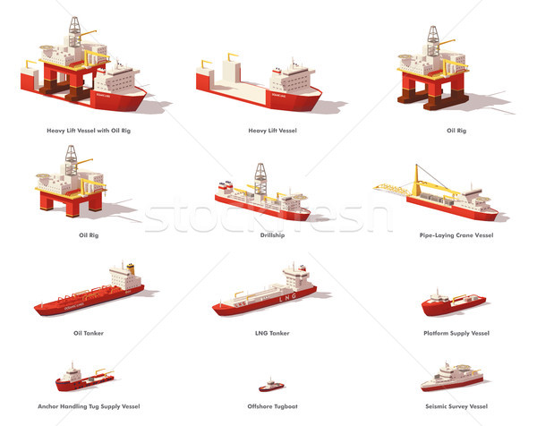 Vector low poly offshore oil exploration vessels Stock photo © tele52