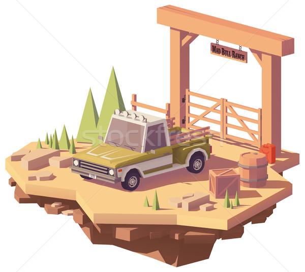 Сток-фото: вектора · низкий · грузовика · ранчо · фермы · ворот