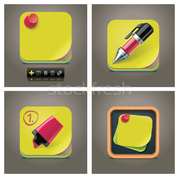 Vector sticky note icon set Stock photo © tele52