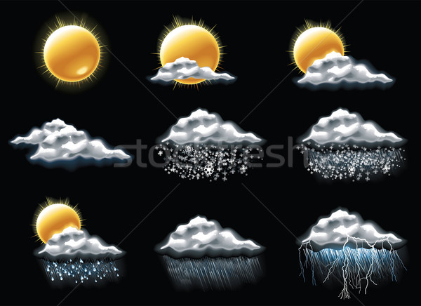 Wektora pogoda prognoza ikona zestaw wiosną Zdjęcia stock © tele52
