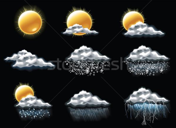 Vektor Wetter Vorhersage Symbole Set Frühling Stock foto © tele52