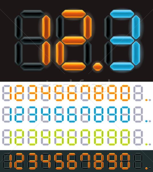 Vetor néon dígitos conjunto diferente cores Foto stock © tele52