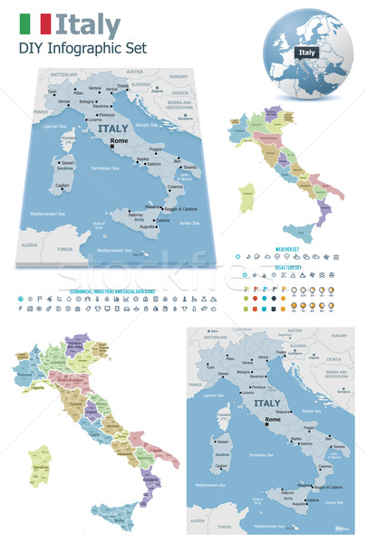 Italy maps with markers Stock photo © tele52