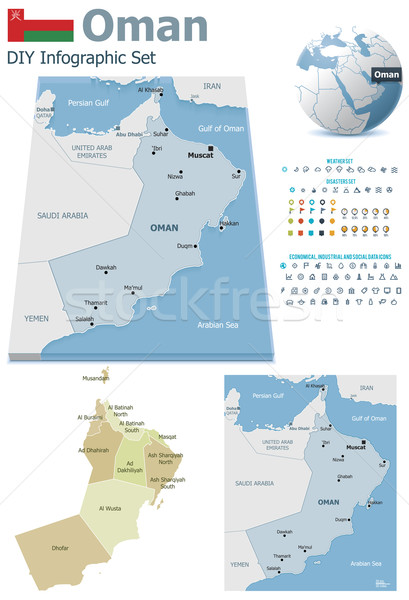 Stock photo: Oman maps with markers