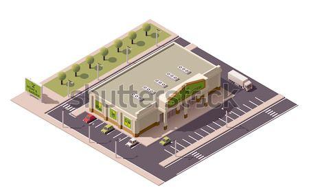 Foto stock: Vetor · isométrica · edifício · ícone · negócio