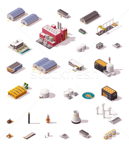 Vector isometric factory buildings set Stock photo © tele52