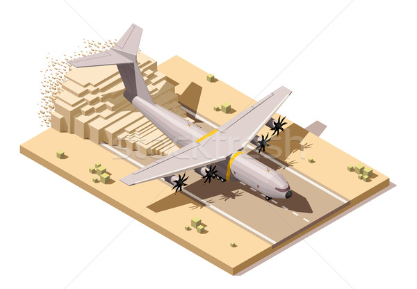 Vector isometric low poly desert airstrip with  cargo airplane landing on dusty runway Stock photo © tele52