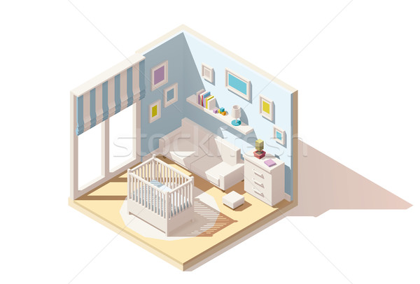 Vector isometric low poly baby room icon Stock photo © tele52