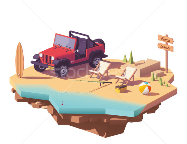 Vector low poly off-road vehicle on the beach Stock photo © tele52