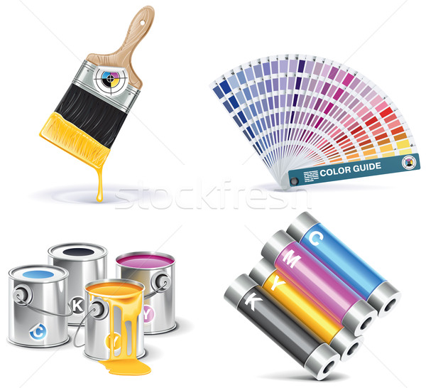Vector print shop icon set. Part 1 Stock photo © tele52