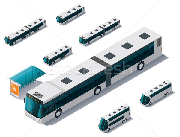 Stock photo: Vector isometric bus set