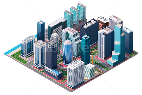 Stock photo: Vector isometric city center map