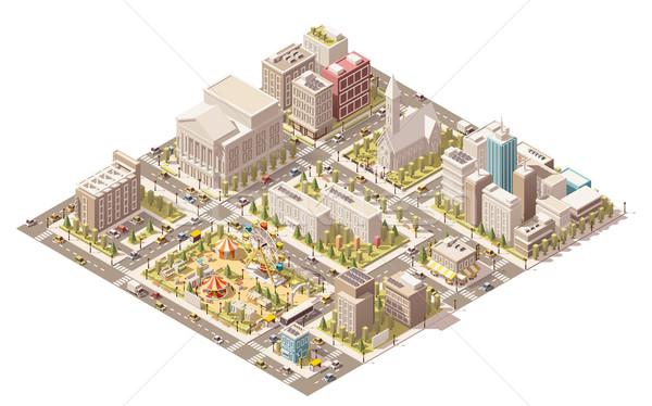 Сток-фото: вектора · изометрический · низкий · город · инфраструктура · здании