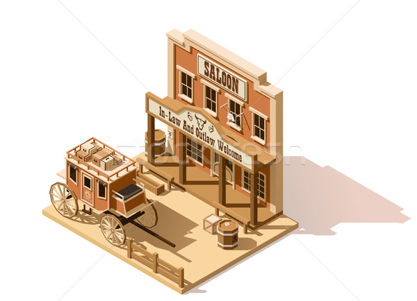 Vector isometric low poly wild west saloon Stock photo © tele52