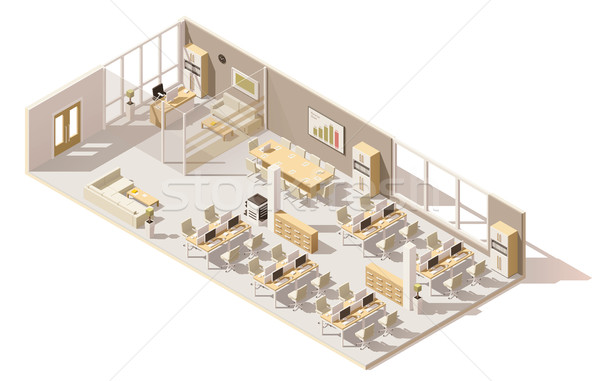 Vector isometric low poly office Stock photo © tele52